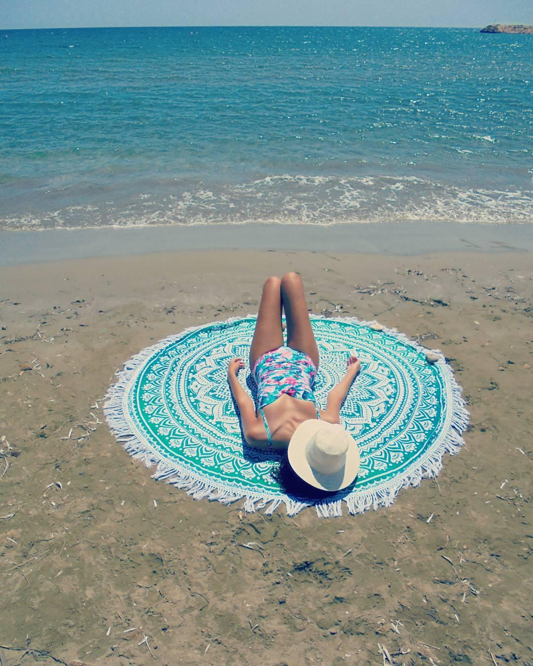 The obligatory #summer2017 mandala round beach throw instagram photo 🌴😄🐚🐬🌴