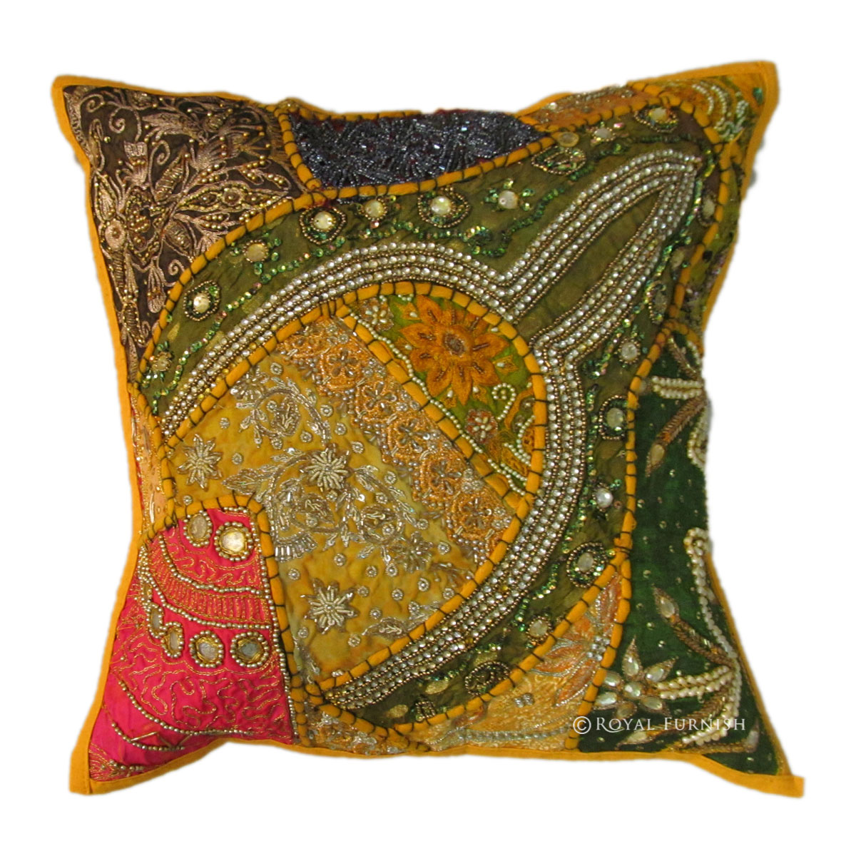 Yellow Embroidered Throw Pillows : Antique Yellow Beads Work & Embroidered Cotton Throw Pillow Case Sham - RoyalFurnish.com