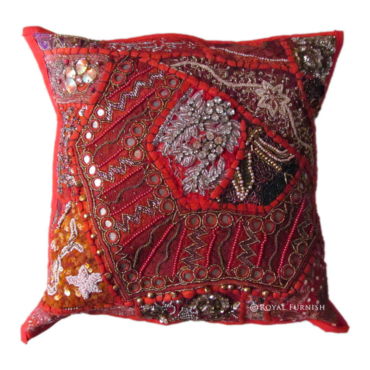 Vintage Antique Red Beaded & Embroidered Accent Throw Pillow Cover Sham - RoyalFurnish.com