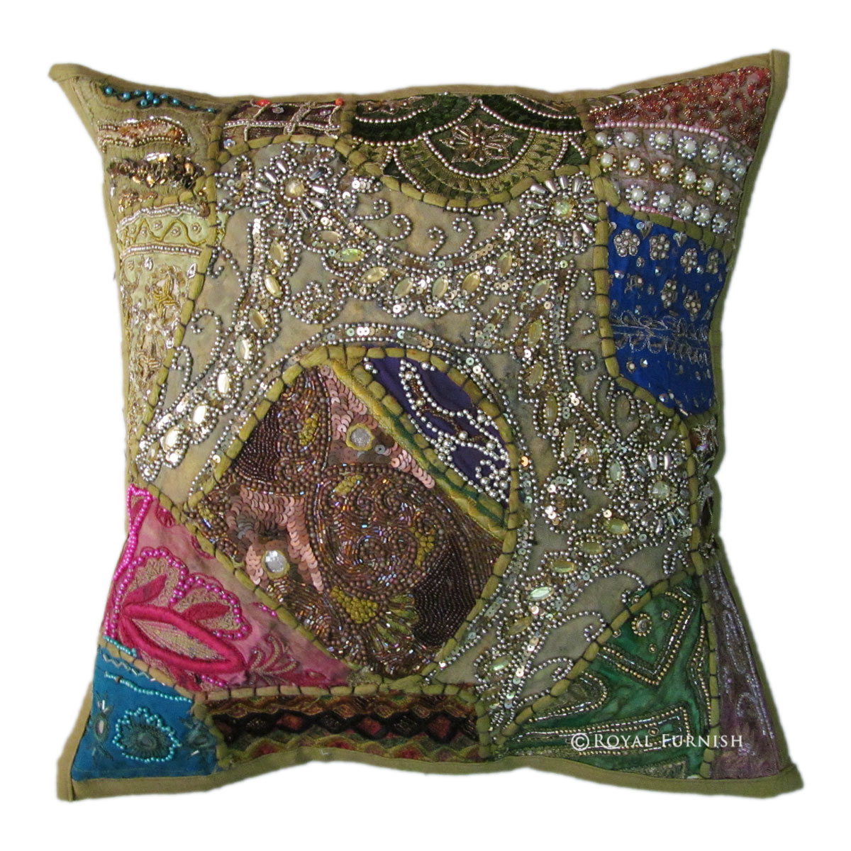 Embroidered Throw Pillow Covers : Green Antique Beaded Patchwork & Embroidered Accent Throw Pillow Cover Sham - RoyalFurnish.com
