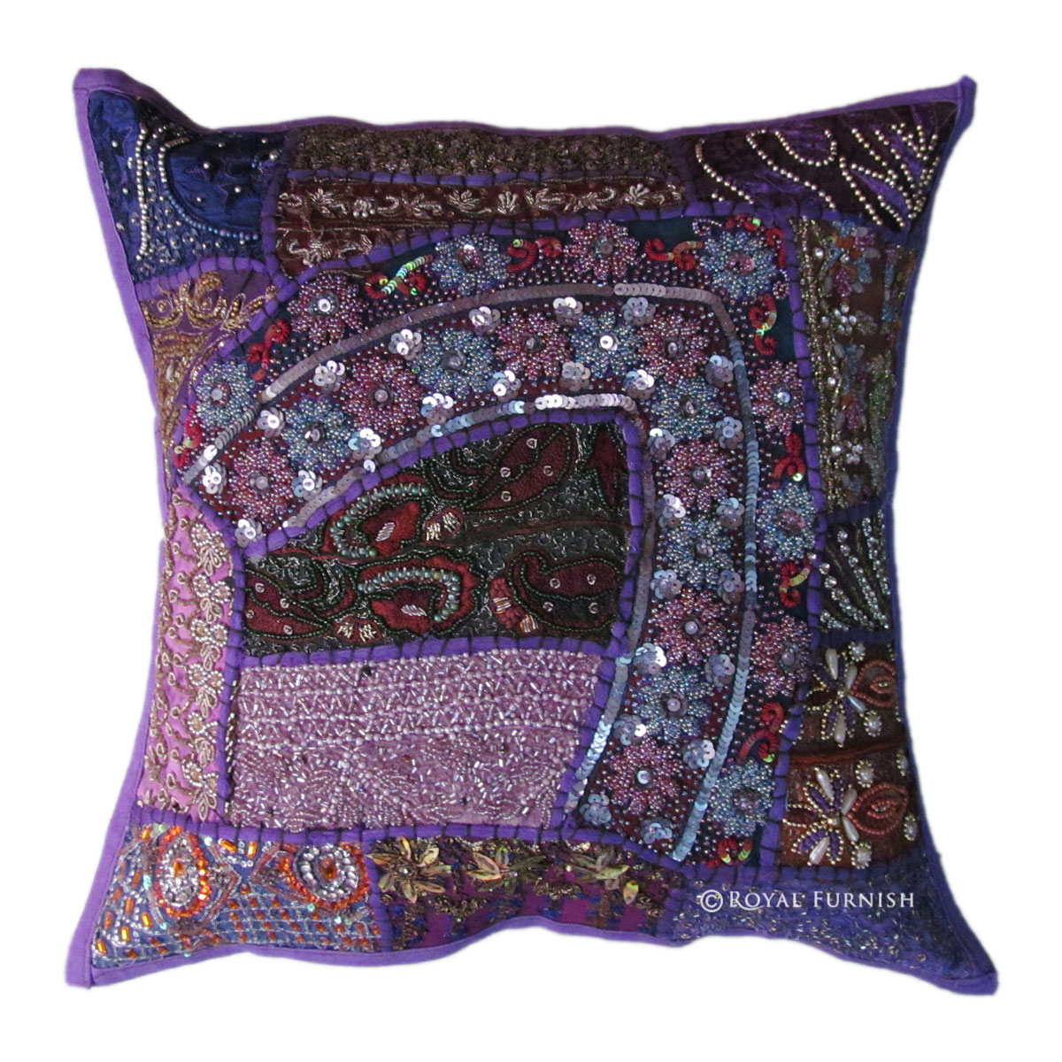 Antique Purple Heavy Beaded Patchwork Embroidered Accent