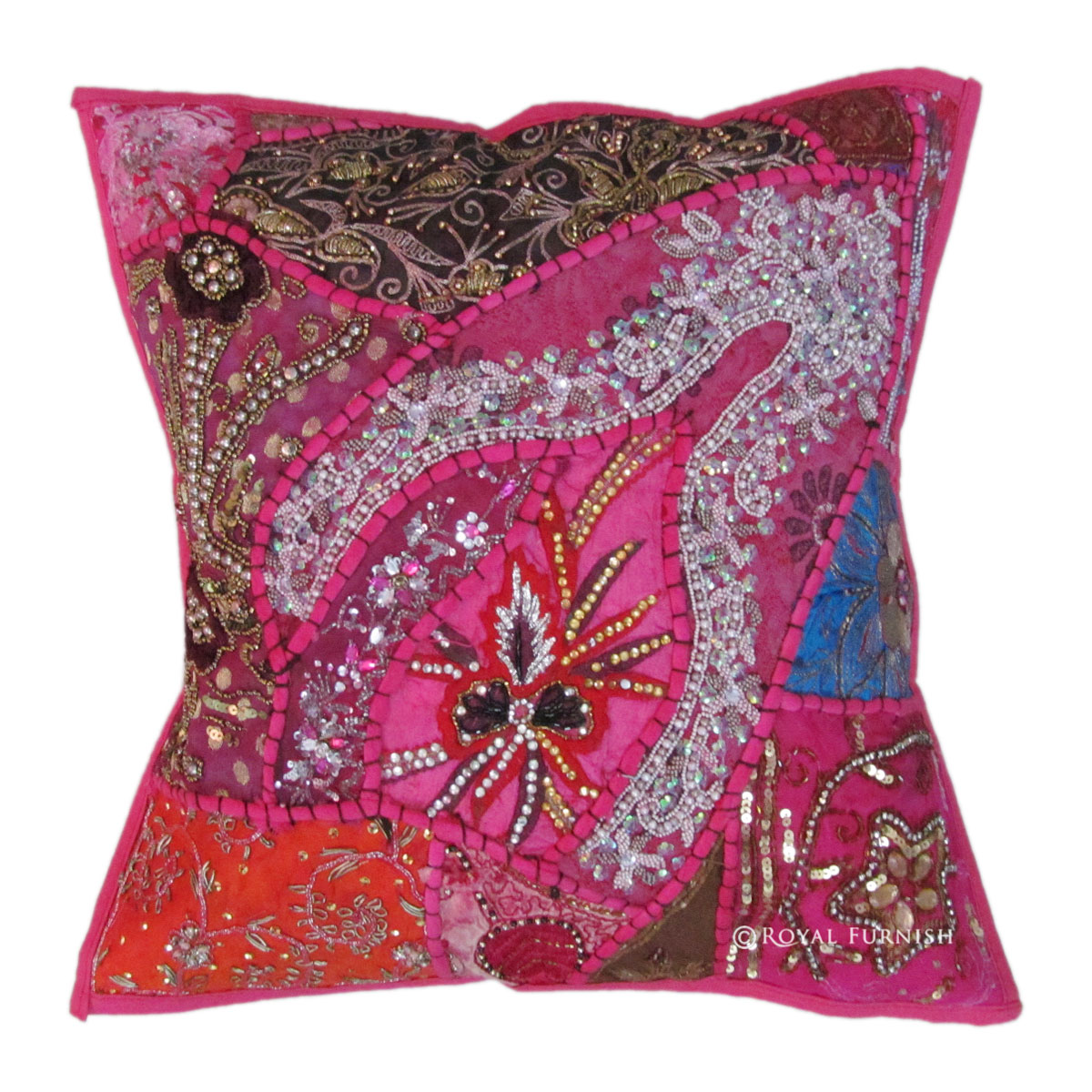 Pink Antique Beaded Patchwork Indian Embroidered Throw Pillow Case Sham - RoyalFurnish.com