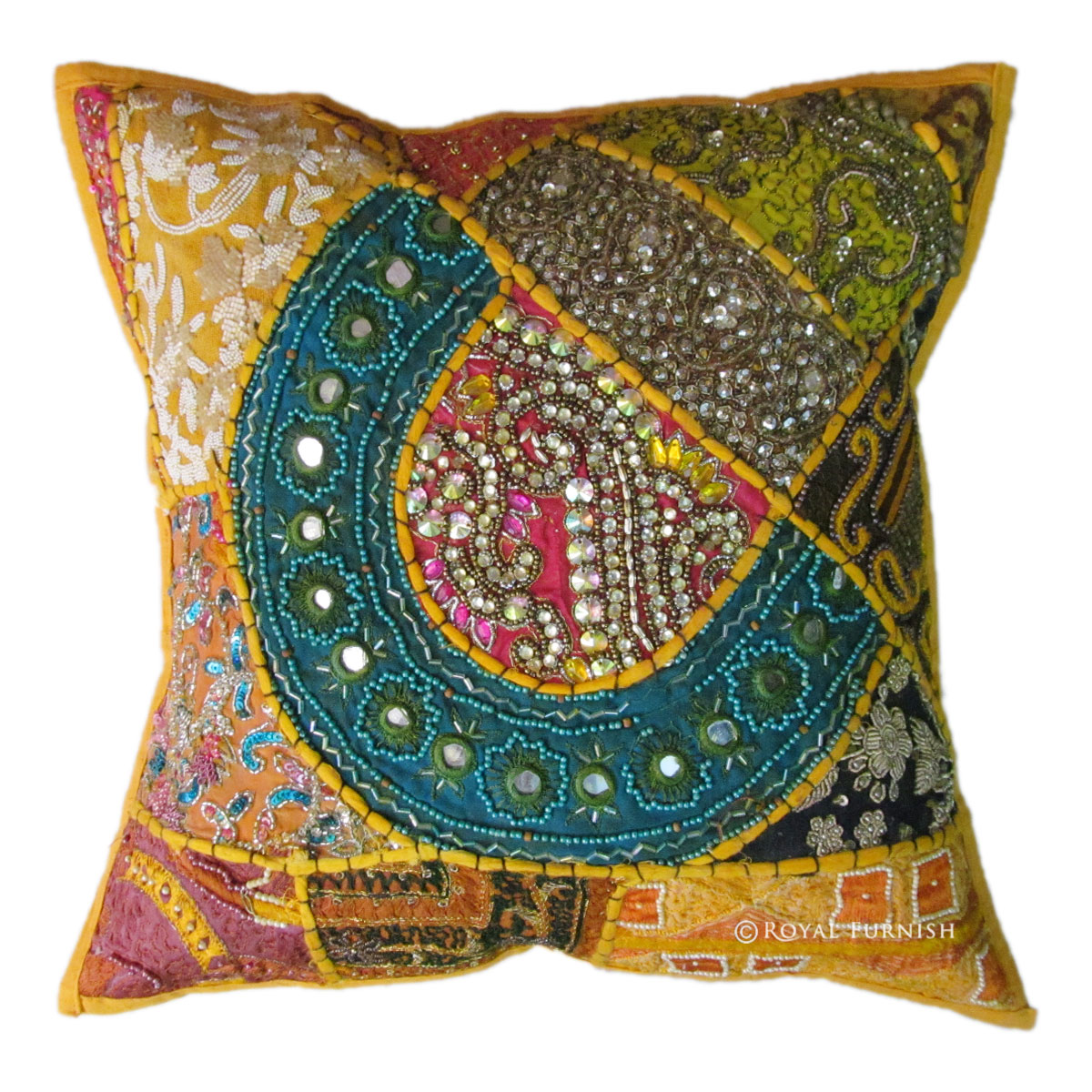 Yellow Embroidered Throw Pillows : Yellow Unique Vintage Heavy Beaded & Embroidered Cotton Throw Pillow Case Sham - RoyalFurnish.com