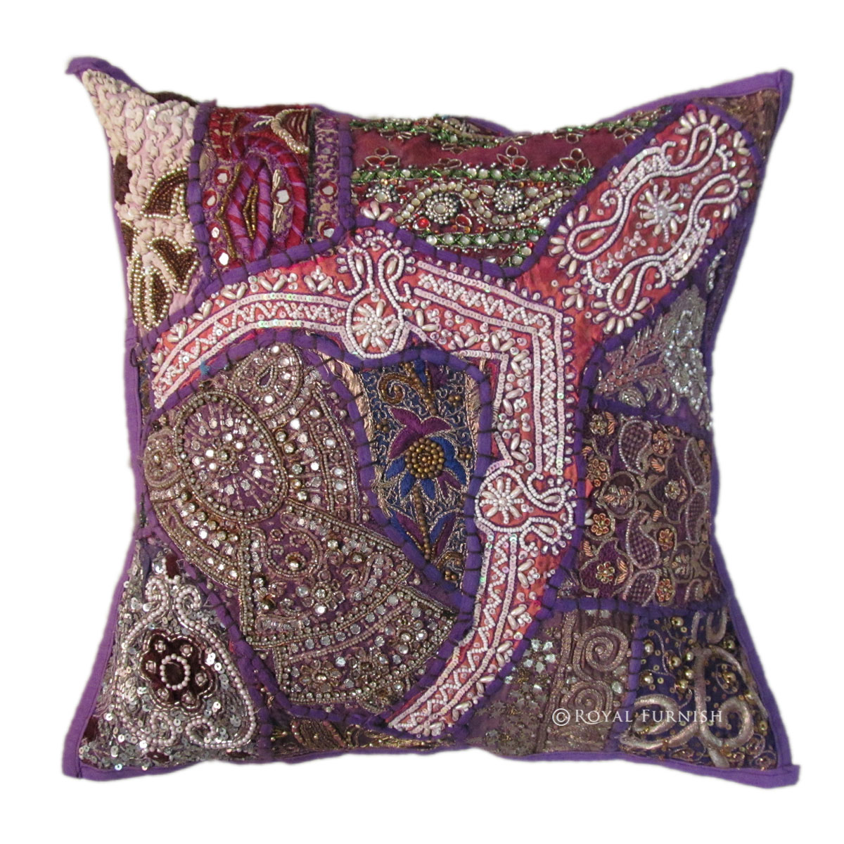 Decorative Pillows With Beads : Purple Antique Heavy Beads Embroidered Decorative Throw Pillow Case Sham - RoyalFurnish.com