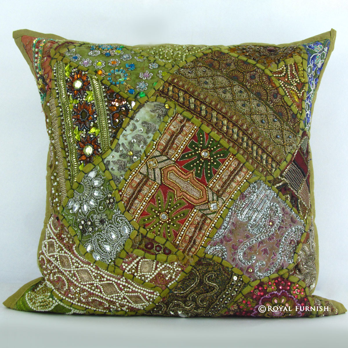 Green Vintage Beaded Patchwork Embroidered Accent Throw Pillow Case Sham - RoyalFurnish.com