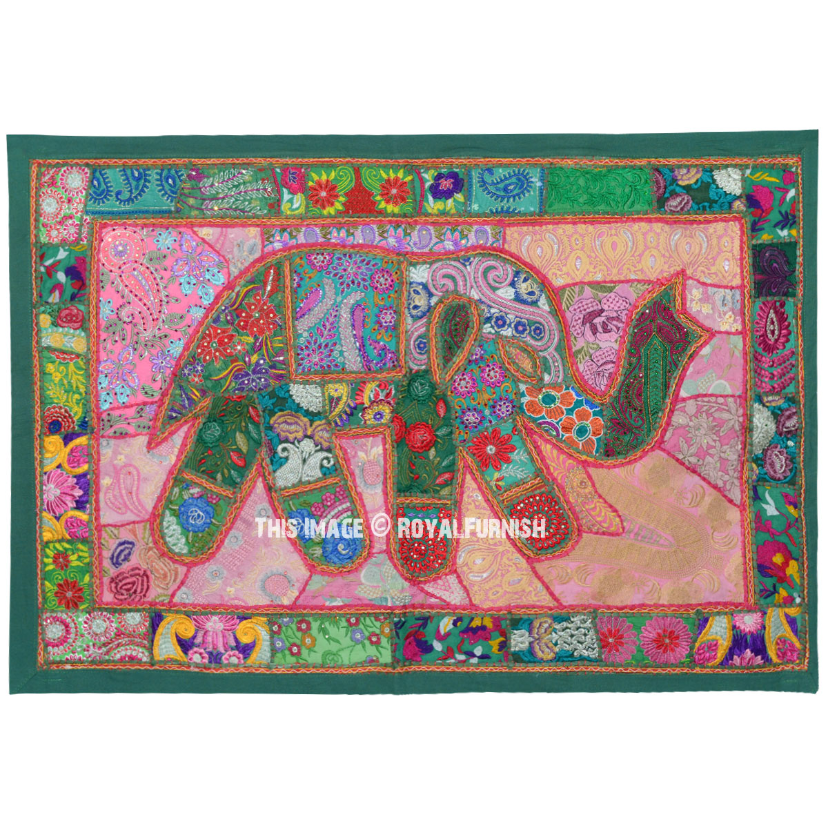 Green Multi Embroidered Elephant Fabric Wall Hanging 46x32