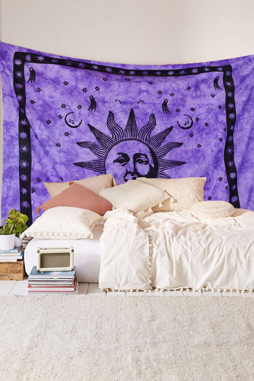 Indian Tie Dye Fringed Purple Sun Wall Tapestry Bedspread Bedding. Indian Tie Dye Fringed Purple Sun Wall Tapestry Bedspread Bedding