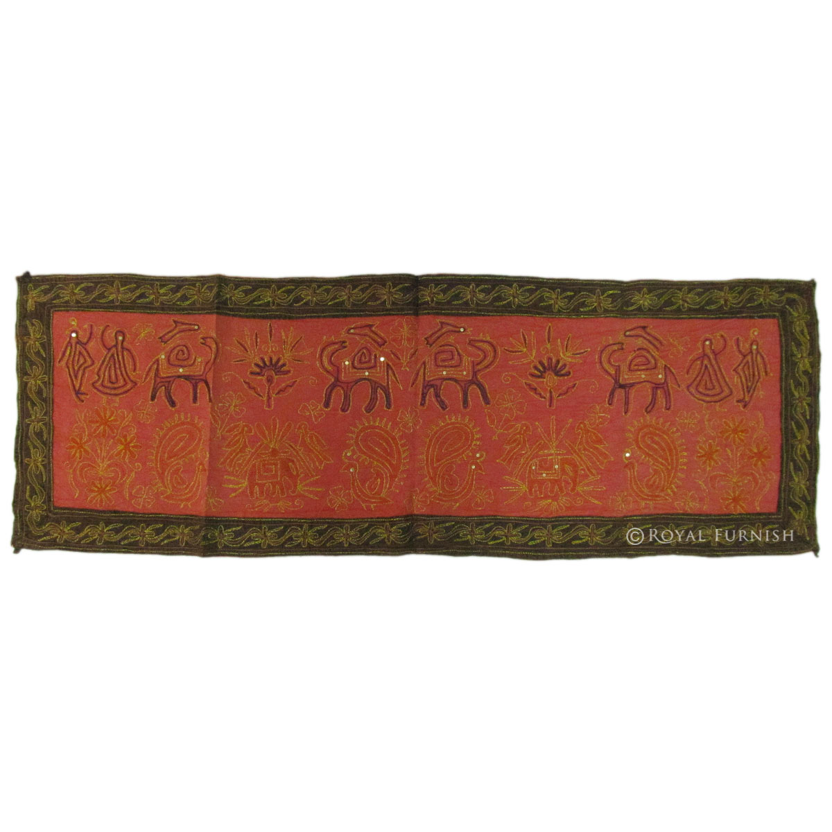 Indian animal floral design embroidered fabric cloth - Cloth wall hanging designs ...
