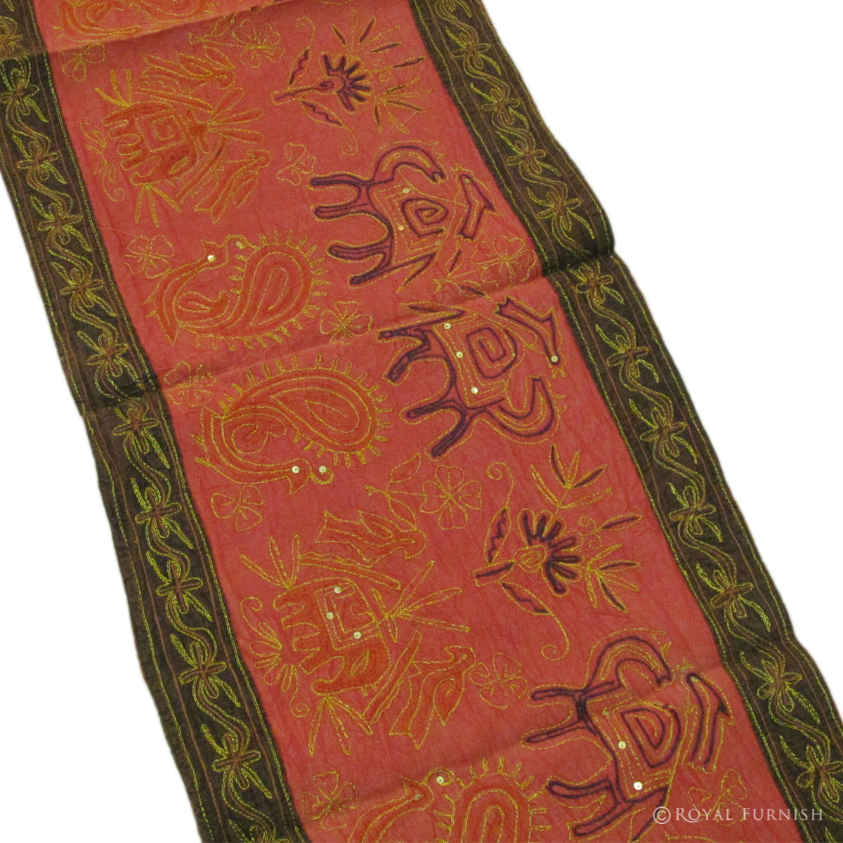Indian Animal Floral Design Embroidered Fabric Cloth
