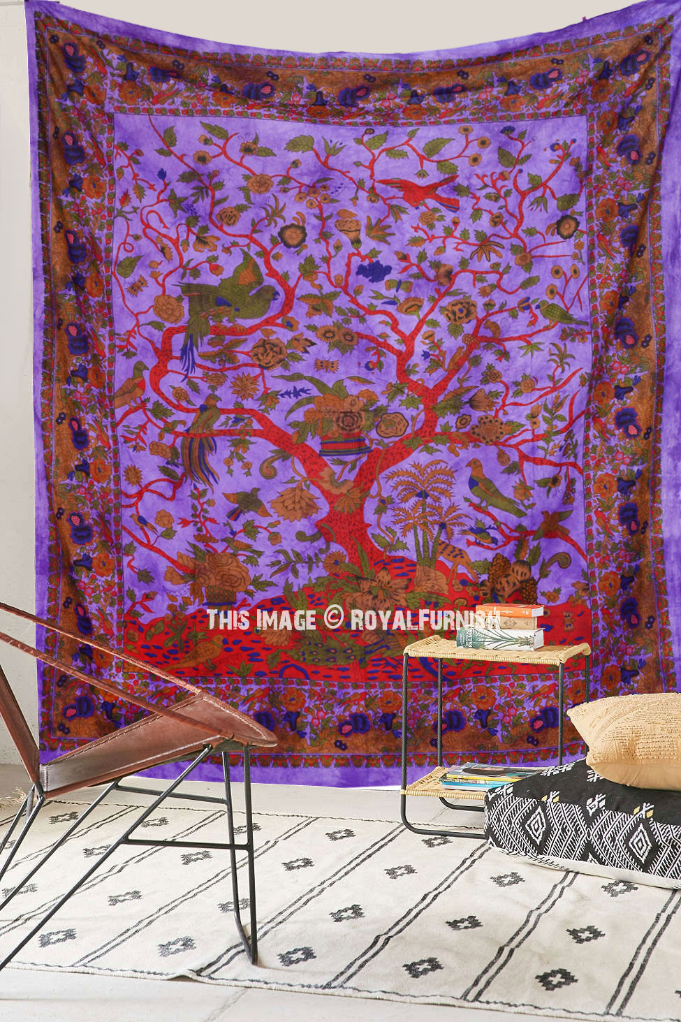 Purple Indian Tree Of Life Hippie Tie Dye Dorm Decor
