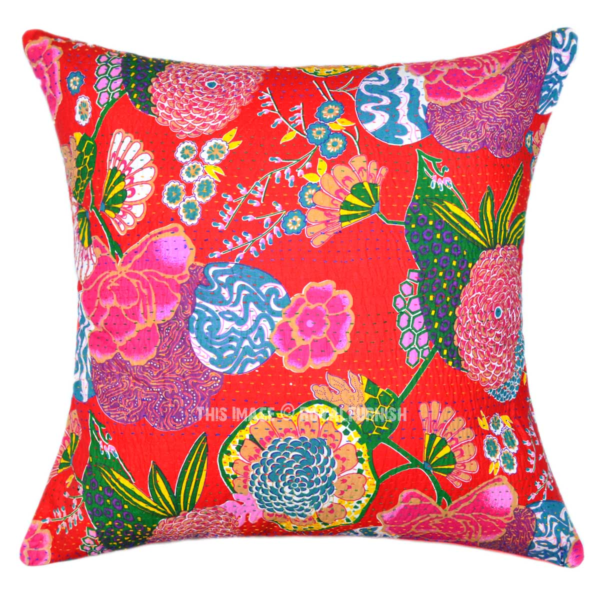 Red Multi Decorative and Boho Accent Tropical Cotton Kantha Throw Pillow Cover 24X24 ...