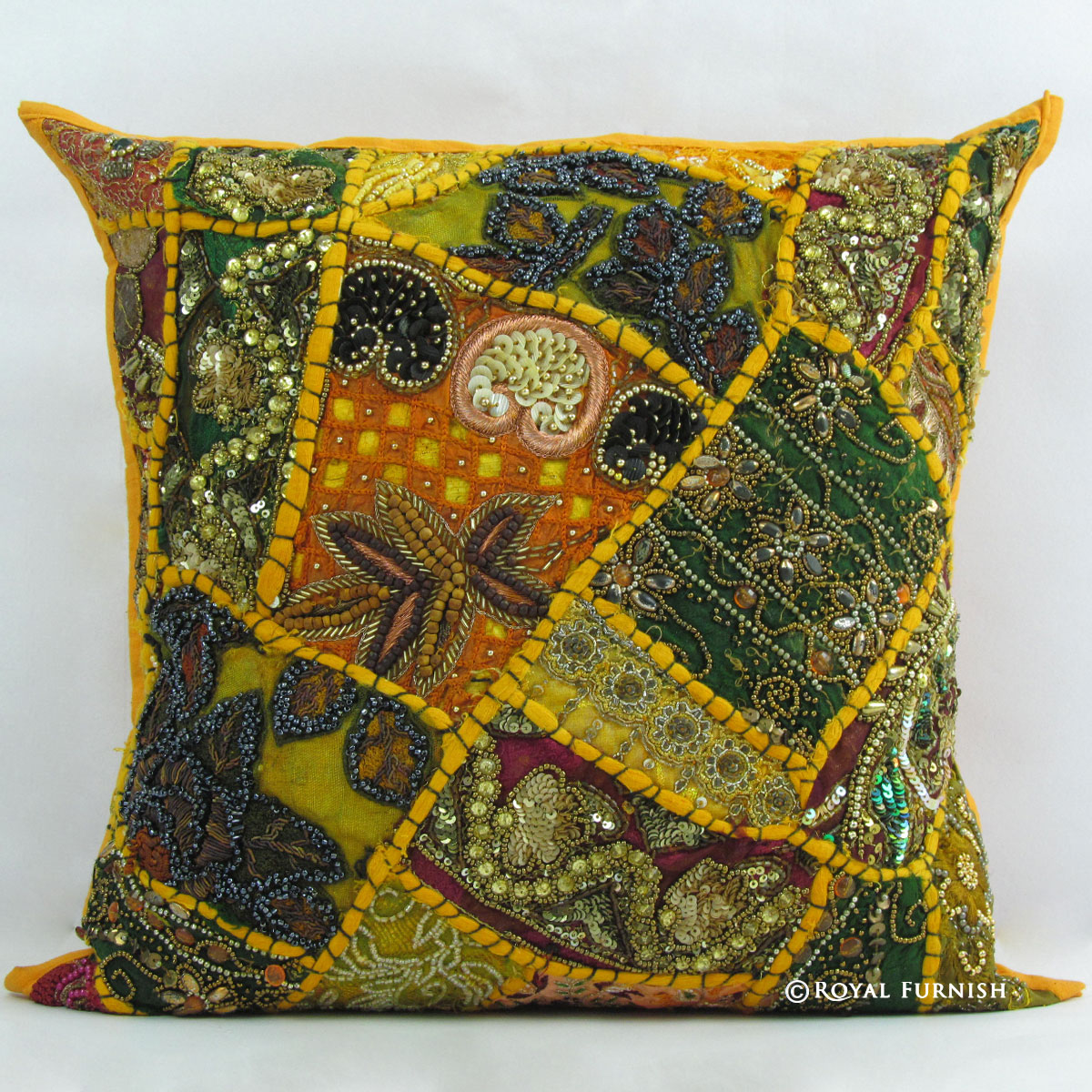 Decorative Pillows With Beads : Yellow Indian Beaded Embroidered Patchwork Accent Throw Pillow Case Sham - RoyalFurnish.com