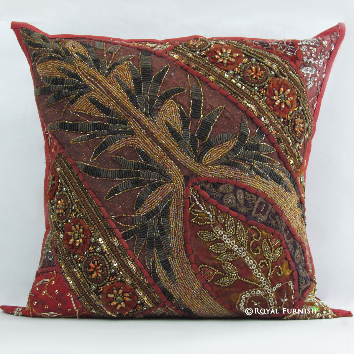 Red Indian Beaded Embroidered Patchwork Decorative Throw Pillow Case Sham - RoyalFurnish.com