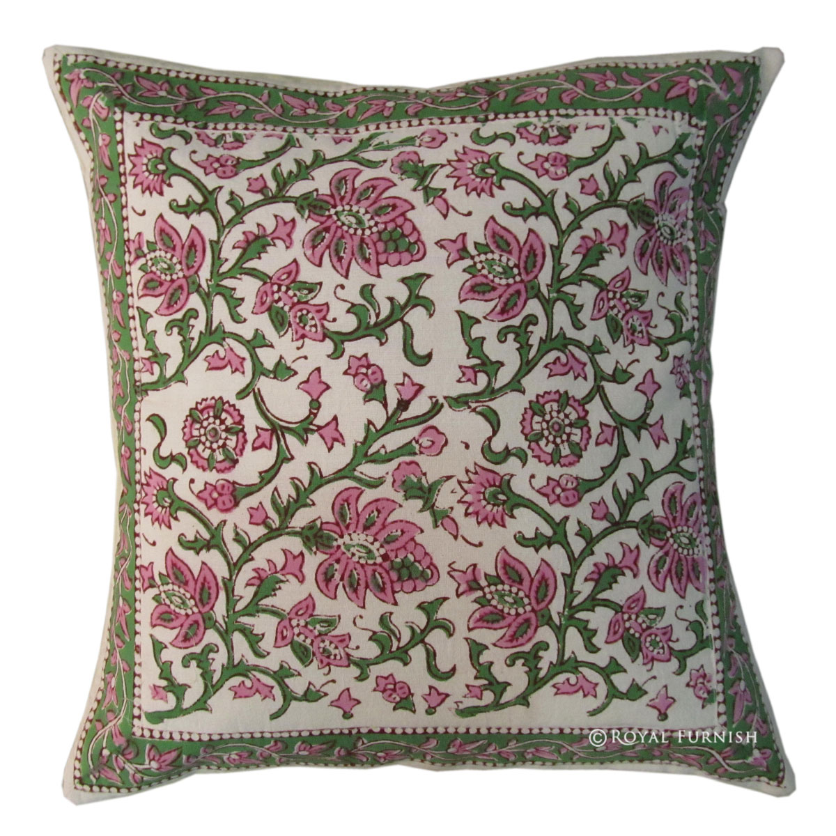 16 Quot White Floral Indian Block Printed Accent Throw Pillow