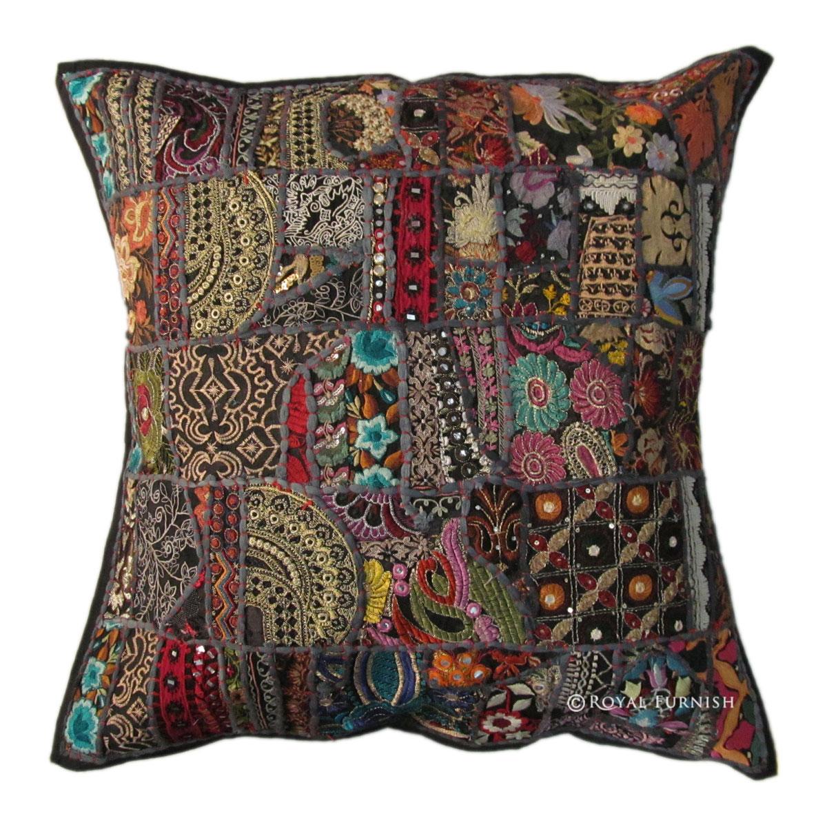 Black Cotton Throw Pillows : 24