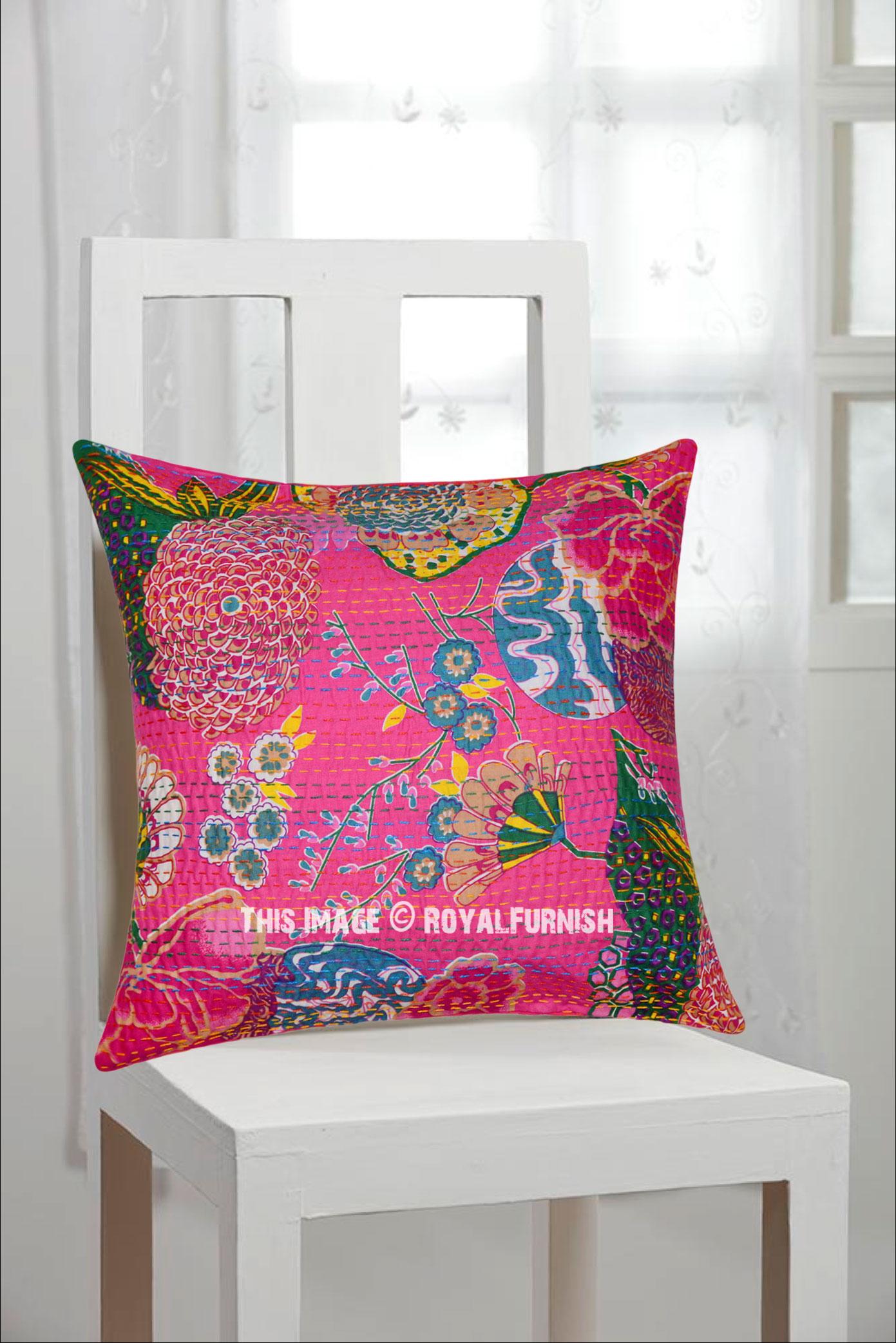 16 pink indian floral kantha accent cotton throw pillow cushion case sham