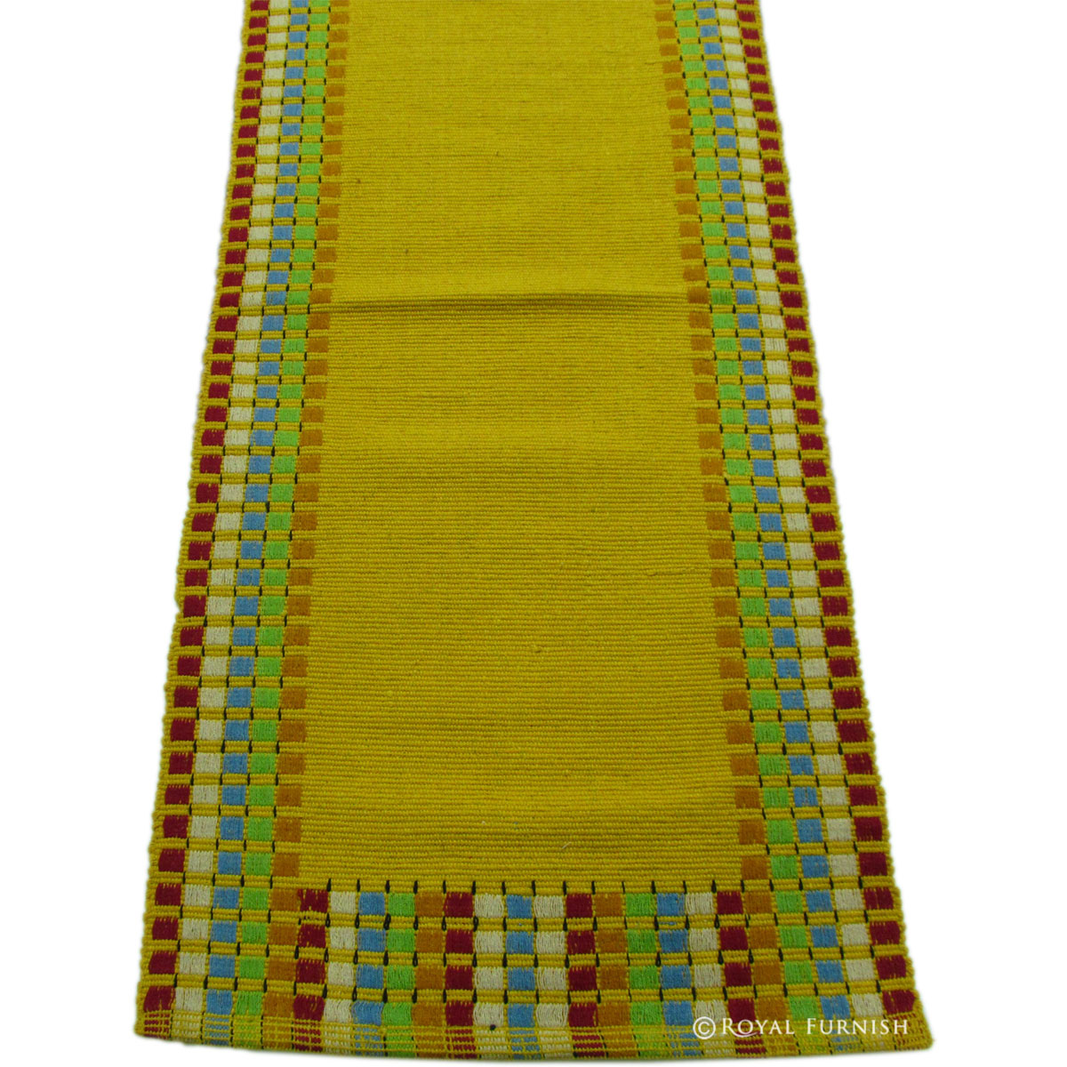 Large Yellow Indian Hand Woven Bed Side Contemporary