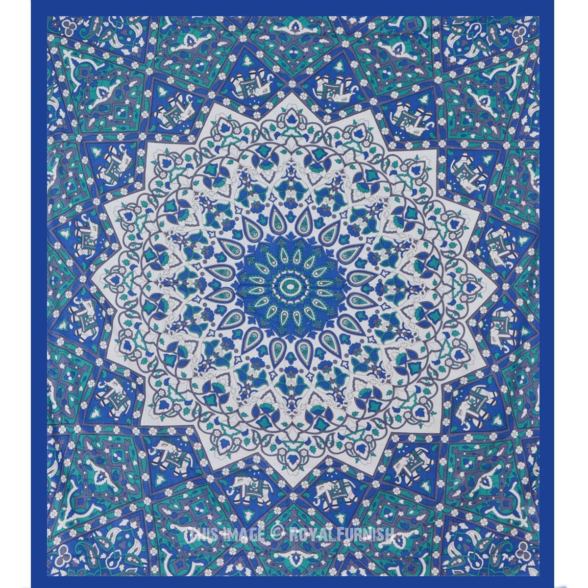 Queen White Amp Blue Indian Mandala Star Dorm Decor Hippie