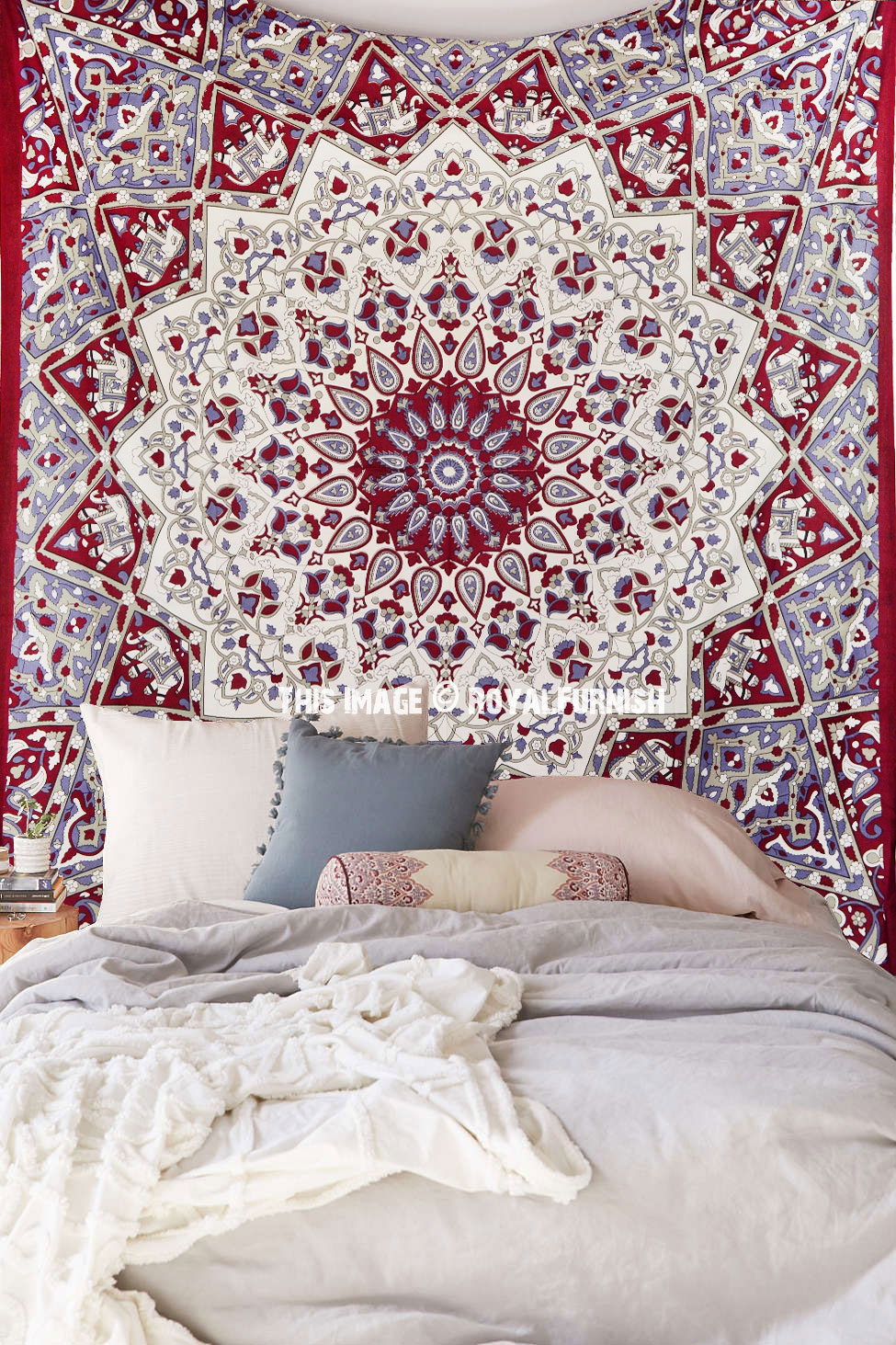 Maroon White Indian Mandala Star Dorm Decor Hippie
