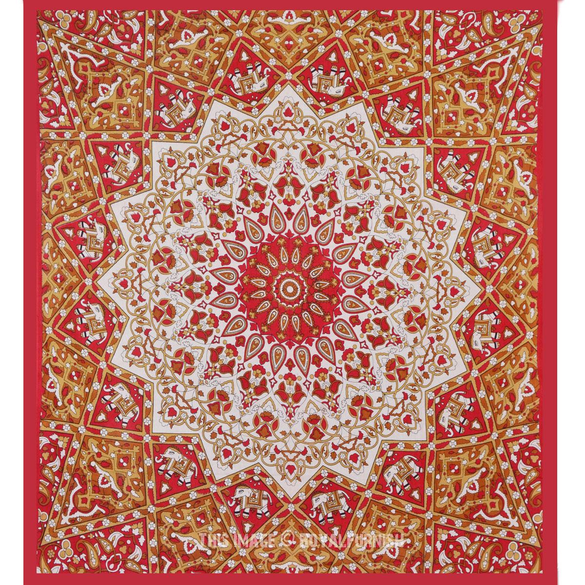 Red White Indian Mandala Star Dorm Decor Wall Tapestry Bedspread - RoyalFurnish.com
