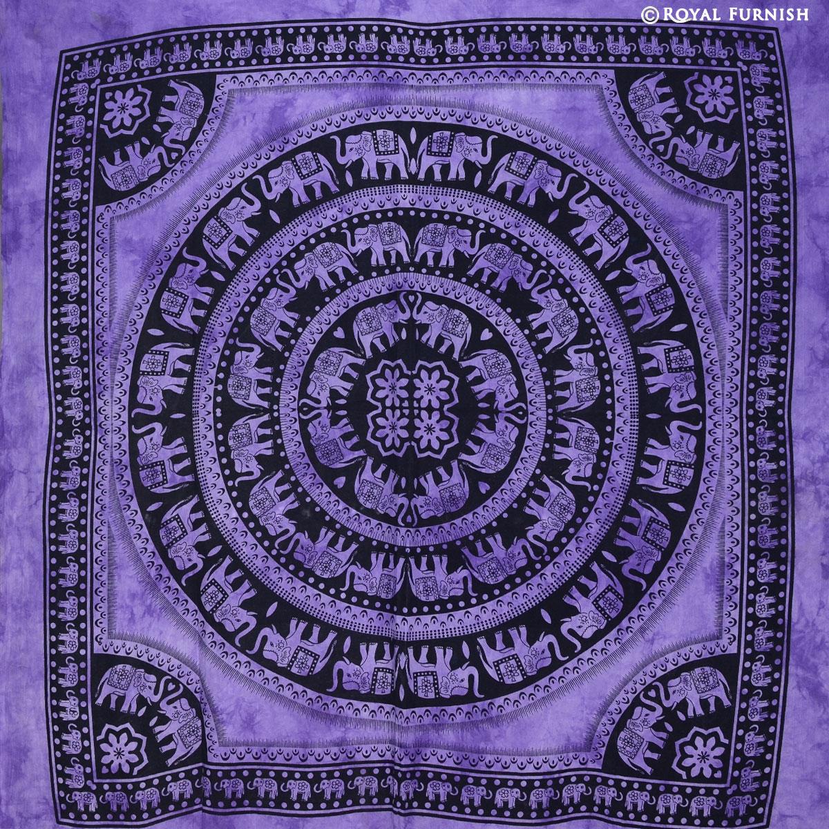 Purple Elephant Mandala Hippie Tie Dye Dorm Tapestry Wall