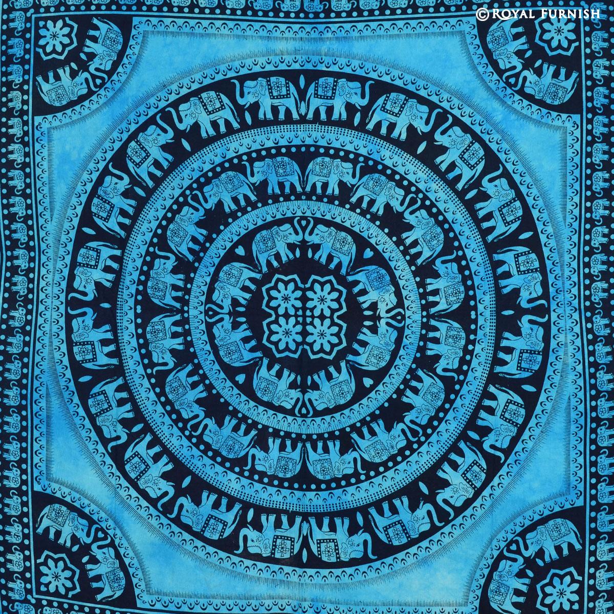 Blue Elephant Mandala Hippie Tie Dye Dorm Tapestry Wall