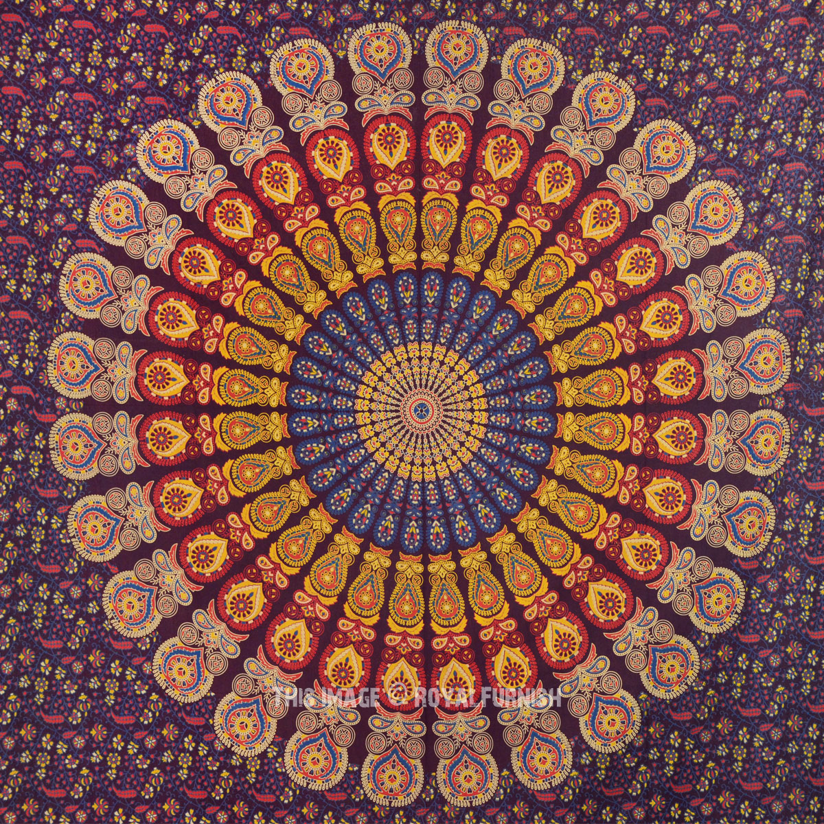 Purple Multicolor Cool Floral Mandala Hippie Tapestry Wall