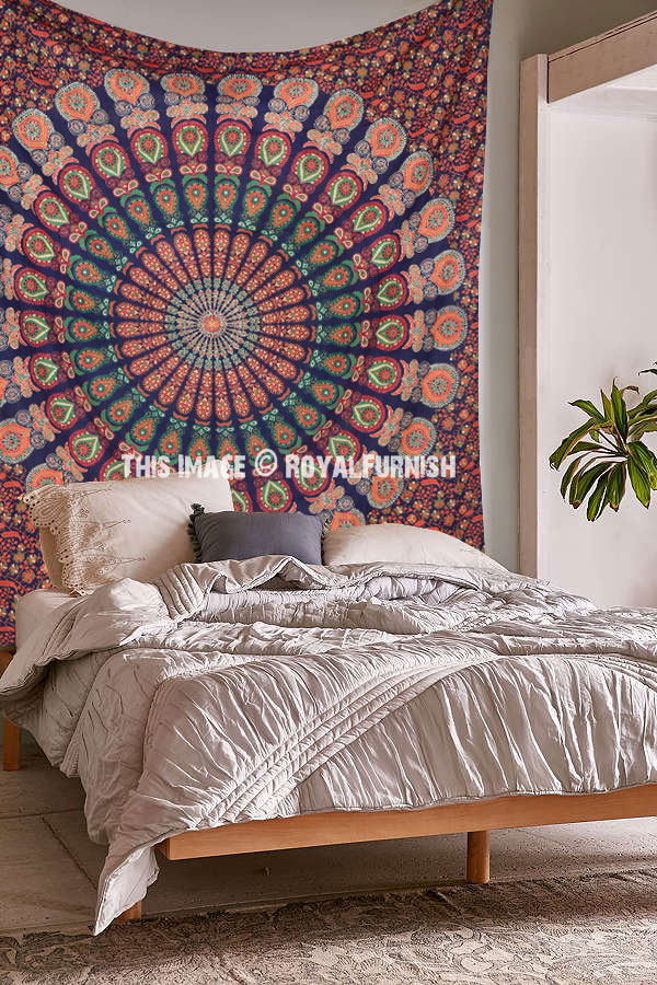 Multicolor Blue Cool Floral Mandala Hippie Tapestry Wall