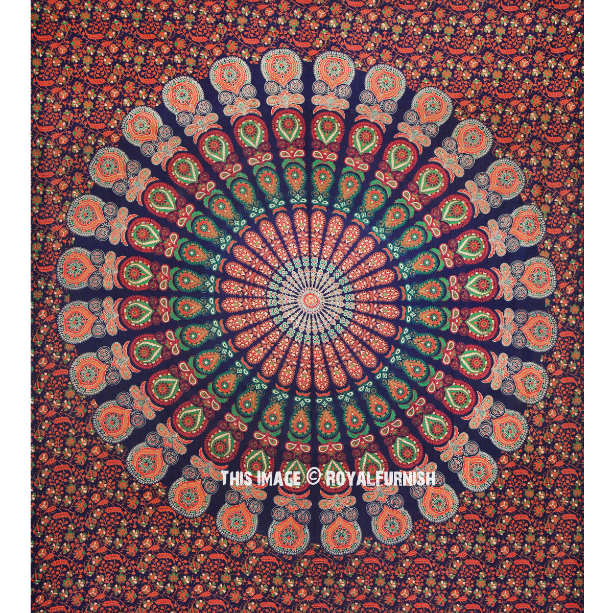 multicolor blue cool floral mandala hippie tapestry wall. Black Bedroom Furniture Sets. Home Design Ideas