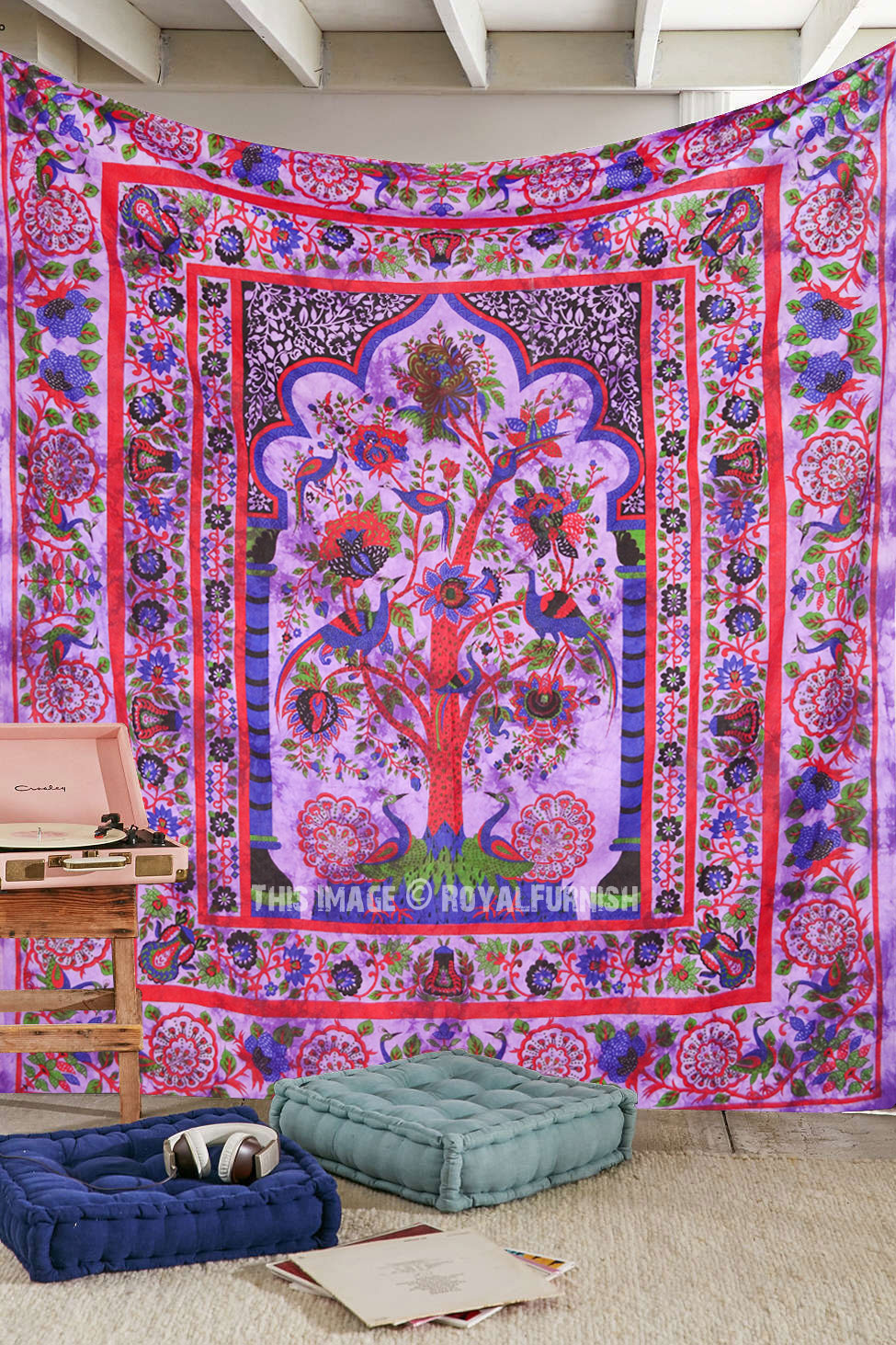 Art Décor: Queen Purple Tree Of Life Hippie Tapestry Wall Hanging