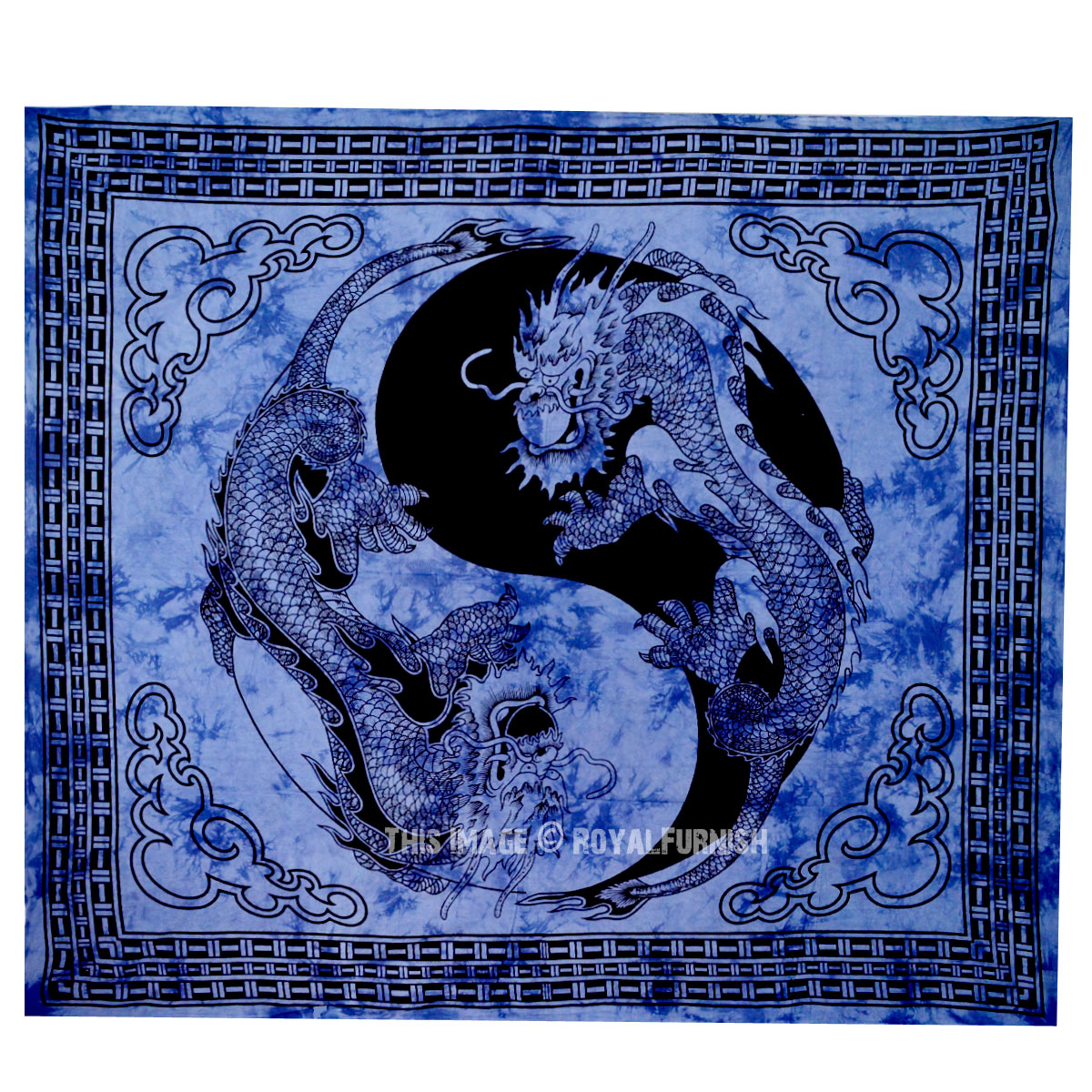 Blue yin yang chinese dragon fly hippie tapestry wall for Decoration murale yin yang