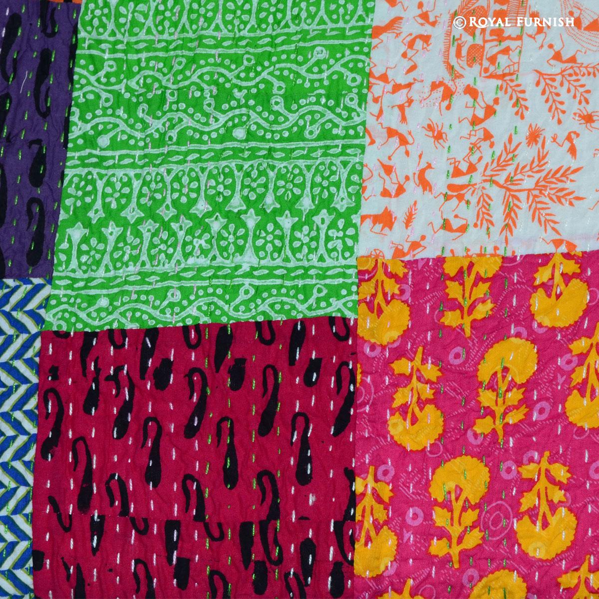 Queen Size Patchwork Bohemian Kantha Quilt Blanket Bedding