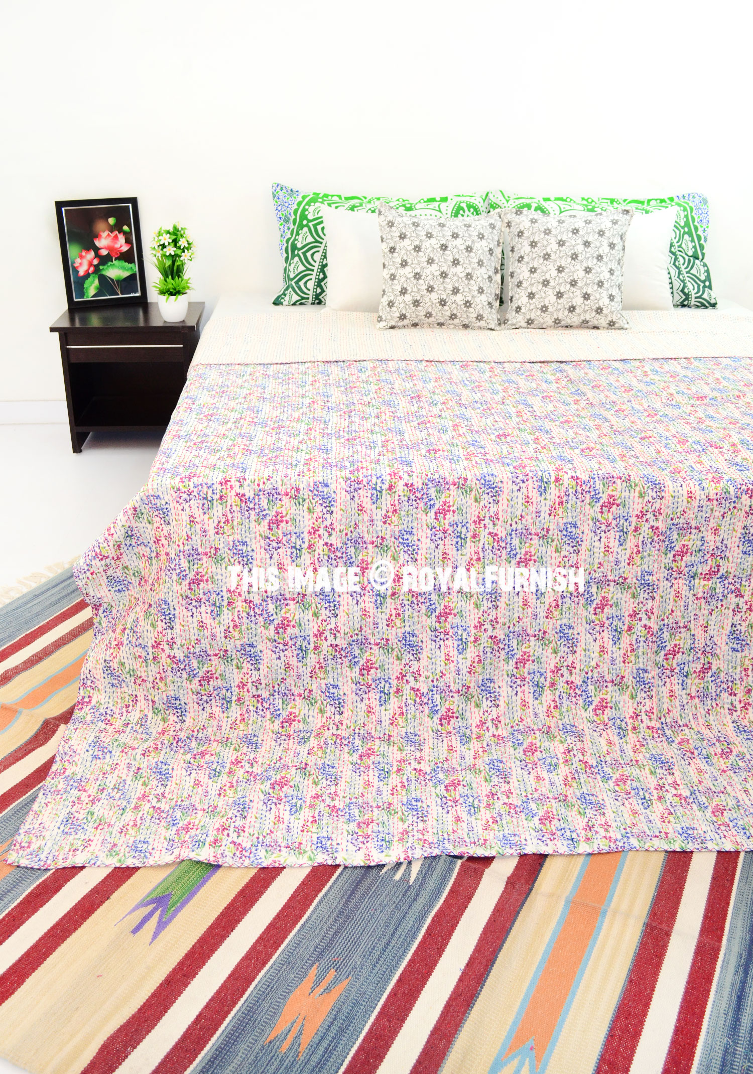 White Small Flower Print Kantha Quilt Blanket Bedding