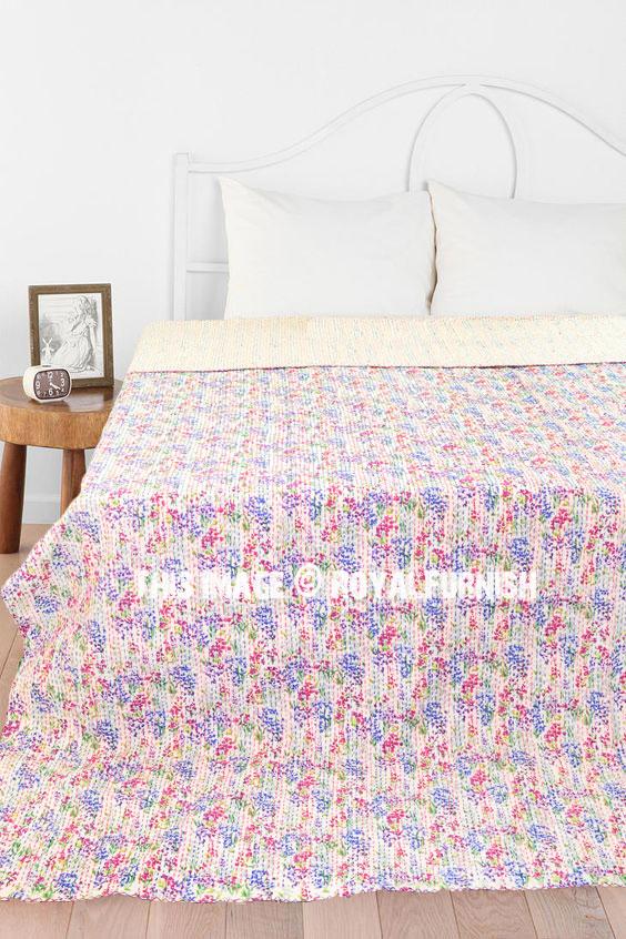 White Small Flower Print Kantha Quilt Blanket Bedding