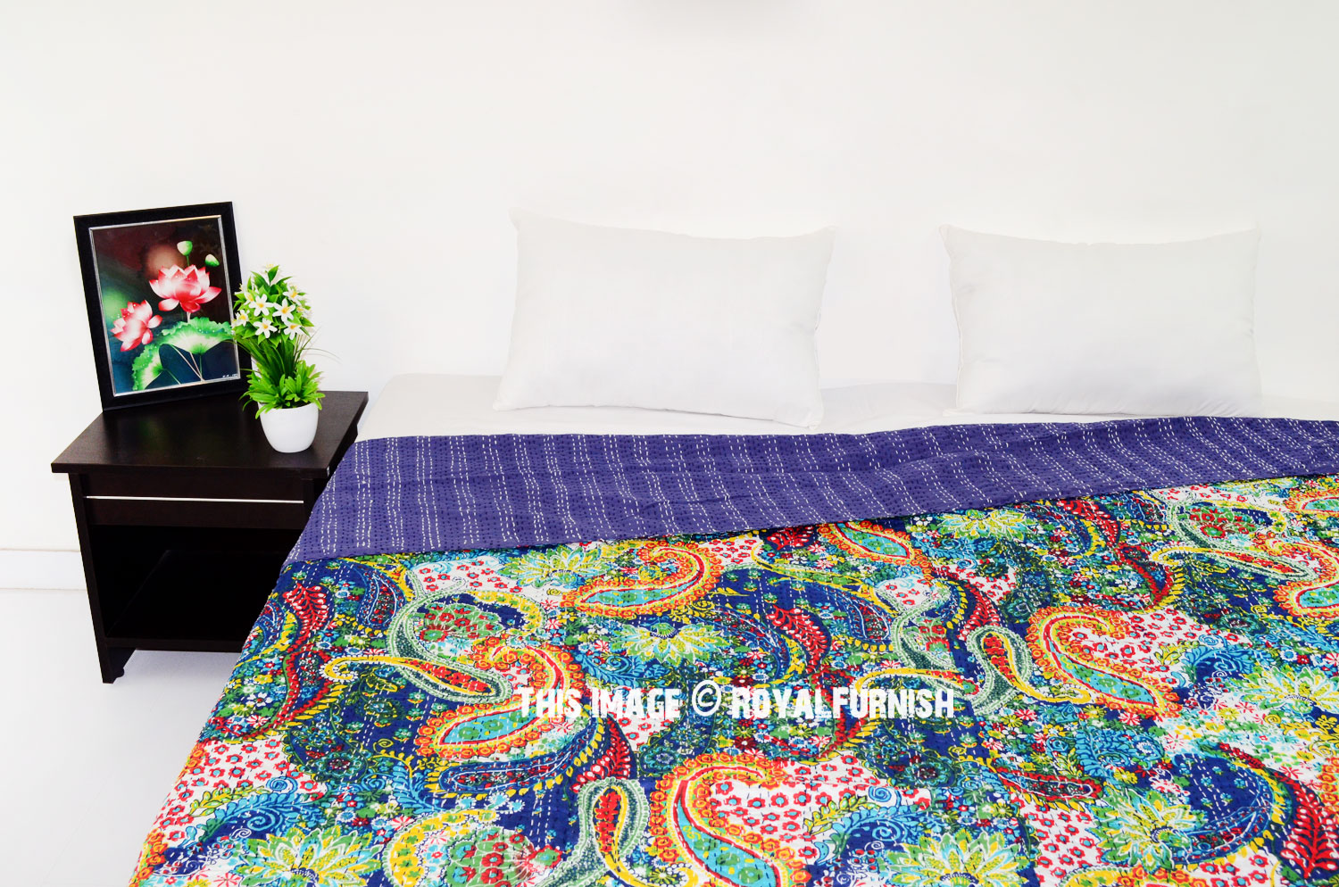 Queen Size Blue Multicolor Paisley Kantha Quilt Blanket