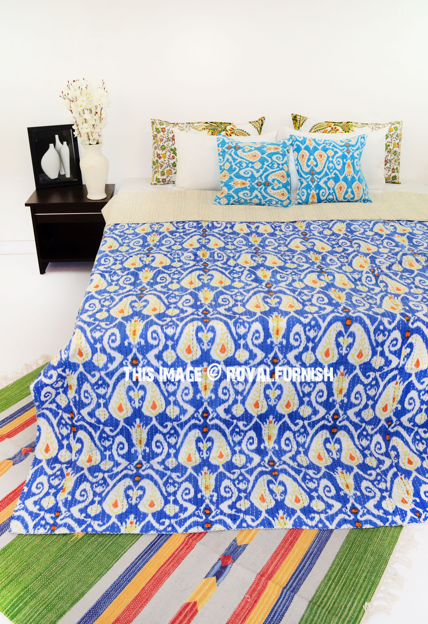 Blue Multi Paisley Print Cotton Ikat Kantha Quilted