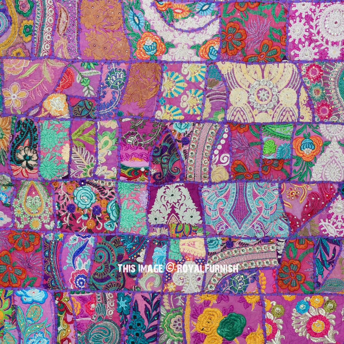 Purple Antique India Hand Sewn Vintage Patchwork Wall