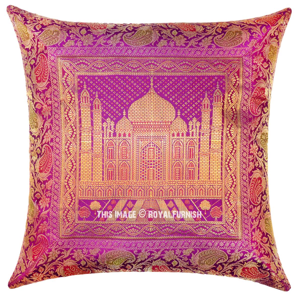 Silk Decorative Pillow Covers : Pink Indian Tajmahal Decorative & Accent Silk Brocade Pillow Cover - RoyalFurnish.com