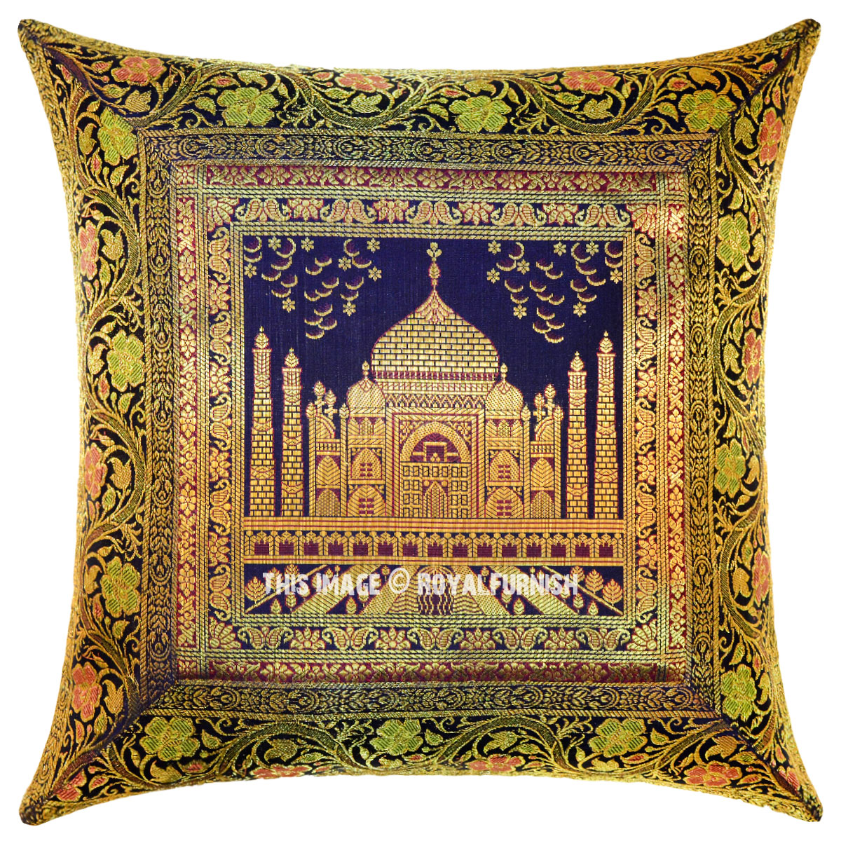 Dark Blue Tajmahal Decorative Amp Accent Silk Brocade Pillow