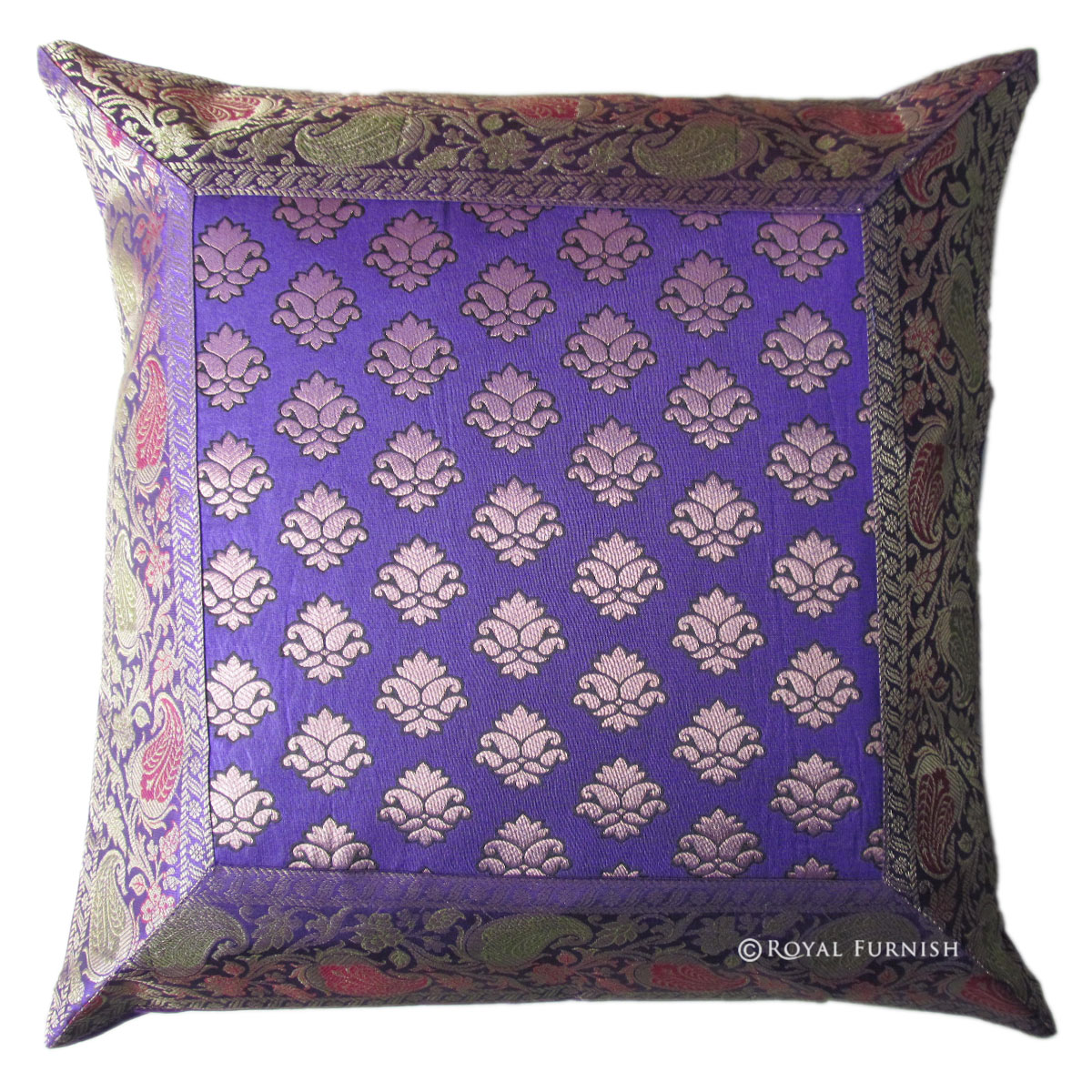 Blue Decorative India Silk Brocade Floral Throw Pillow Sham