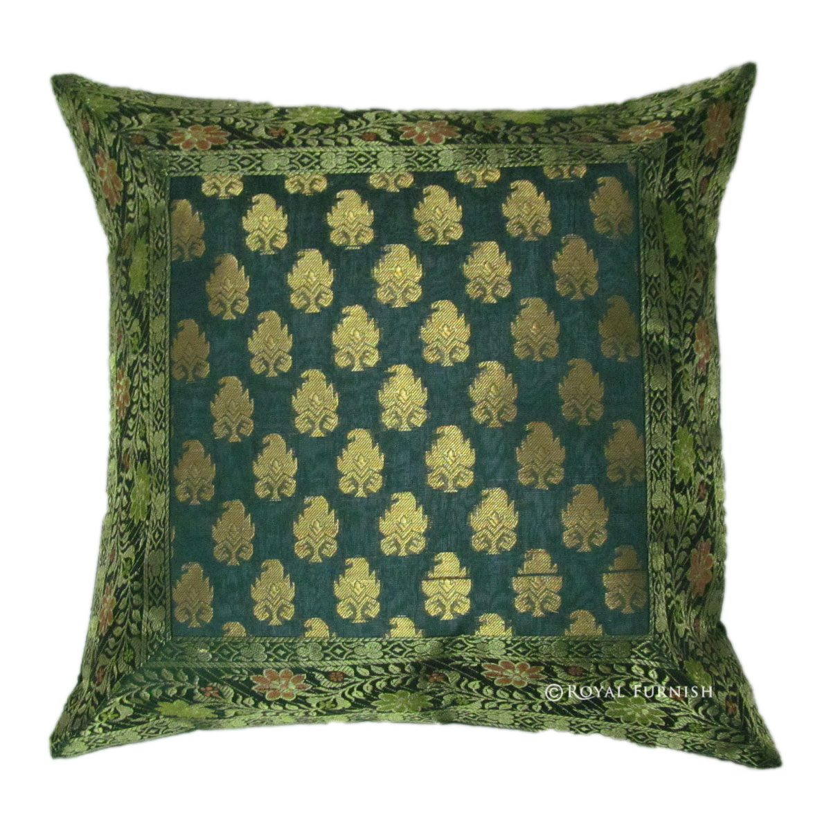Decorative Floral Pillow Covers : Decorative Silk Brocade Throw Floral Pillow Cover - RoyalFurnish.com