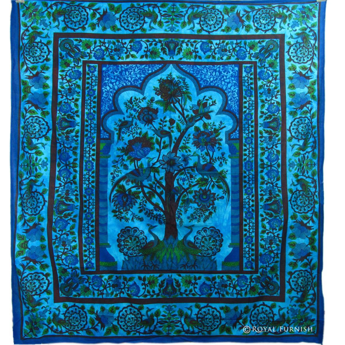 Queen Size Blue Dorm Decor Tree Of Life Hippie Tapestry