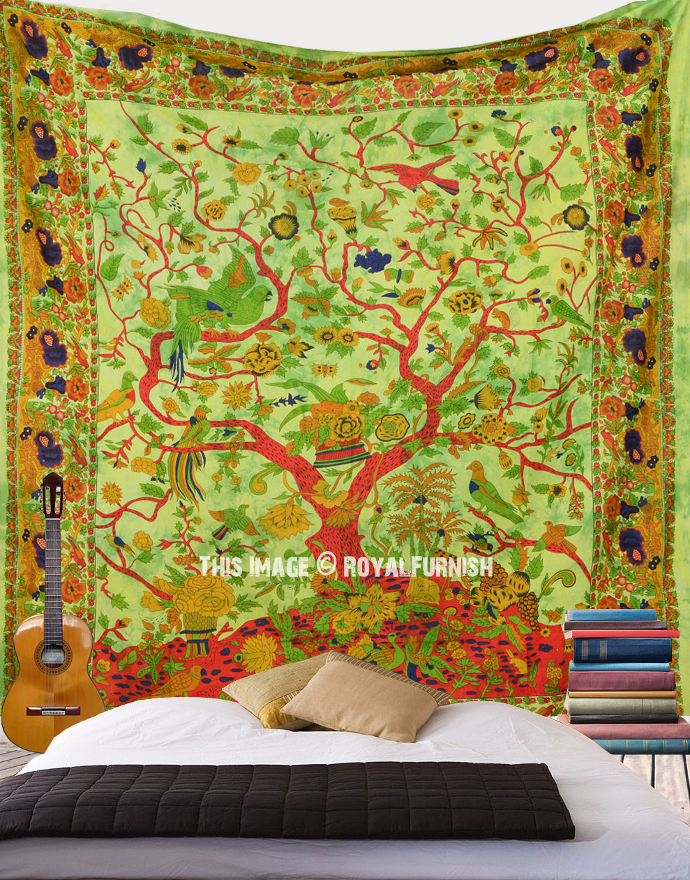 Large Green Tree Of Life Hippie Wall Tapestry - RoyalFurnish.com
