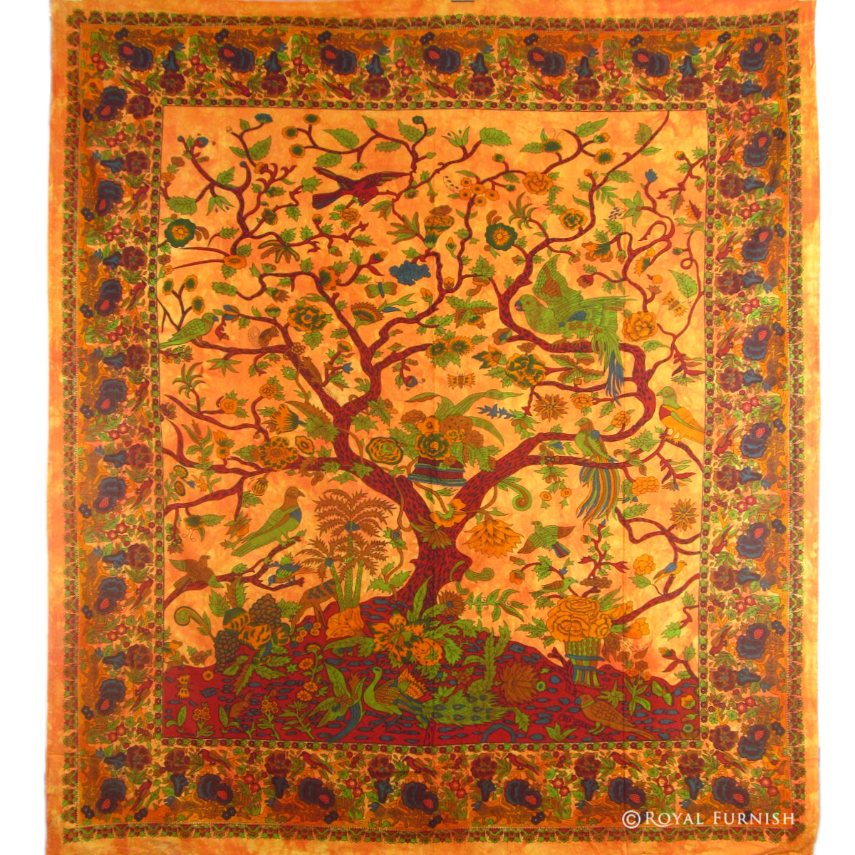 Orange indian dorm decor tree of life wall hanging for Wall hanging