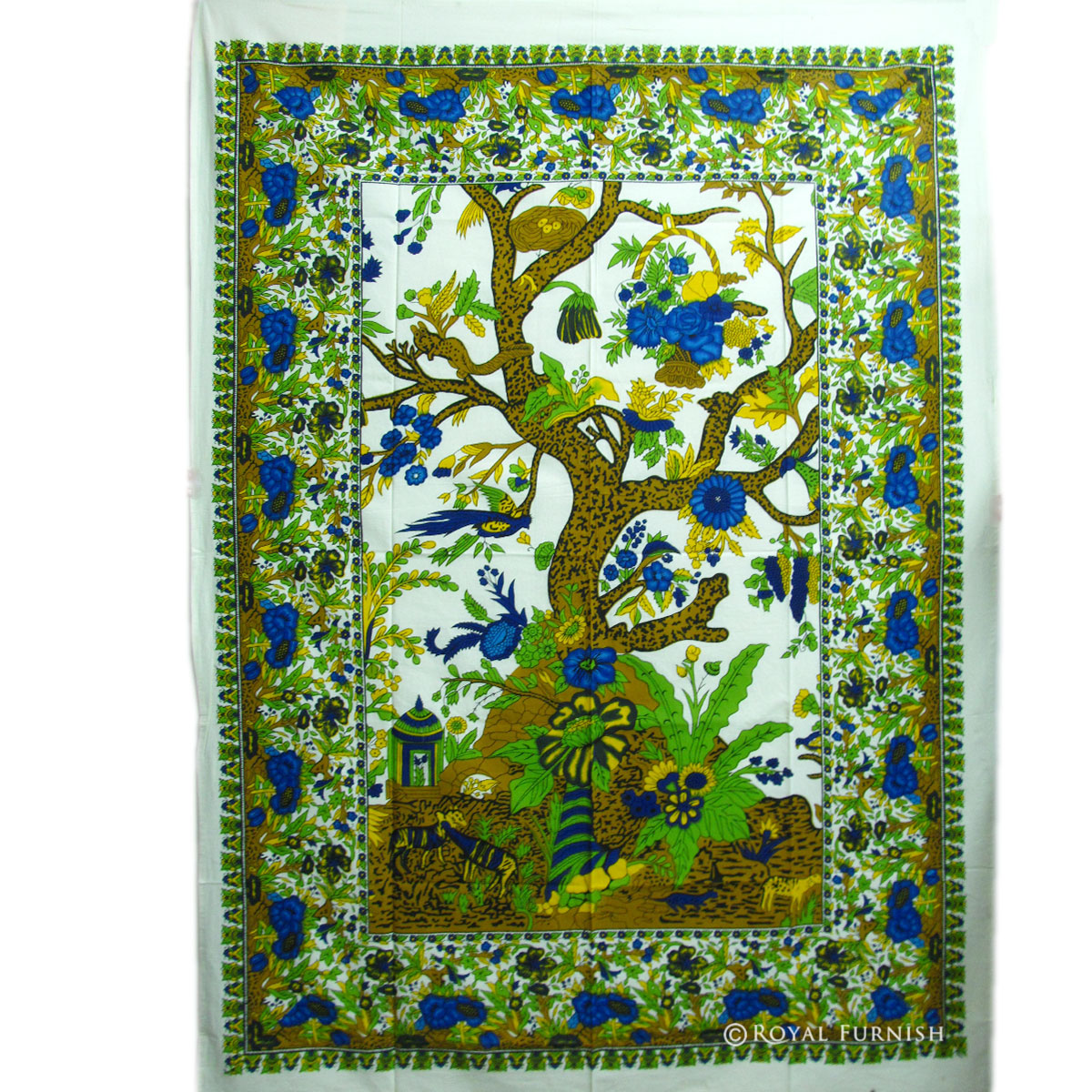 Twin Size White Indian Tree Of Life Tapestry Wall Hanging