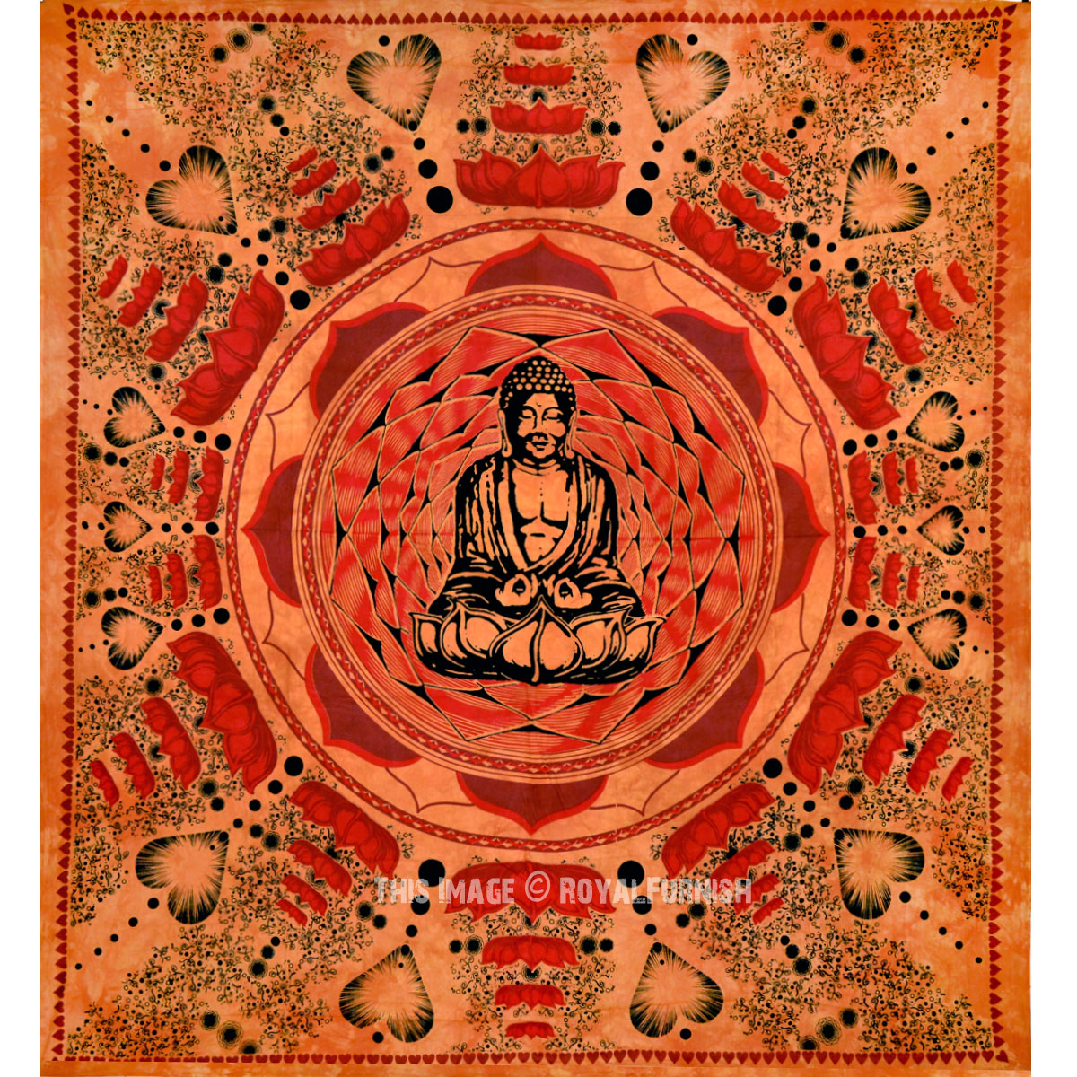 Brown Buddha Cotton Screen Printed Tapestry Amp Wall Hanging