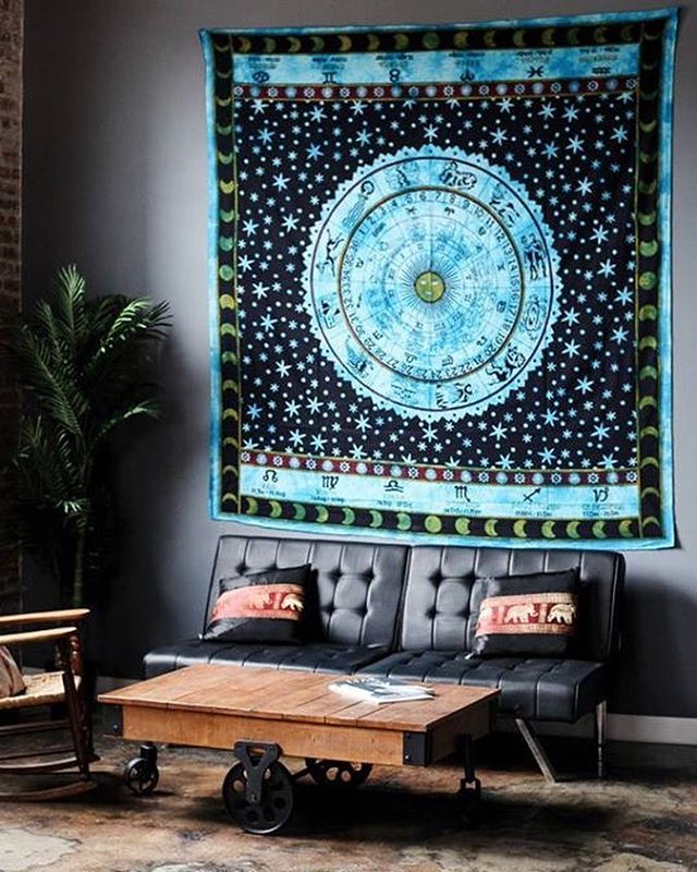Queen Hindu Astrology Zodiac Horoscope Cotton Tapestry Wall Hanging ...