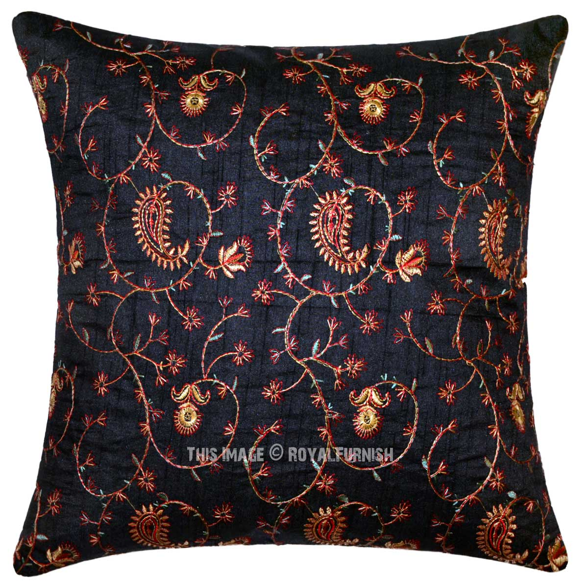 Embroidered State Throw Pillows : Black Hand Embroidered Floral Silk Throw Pillow - RoyalFurnish.com