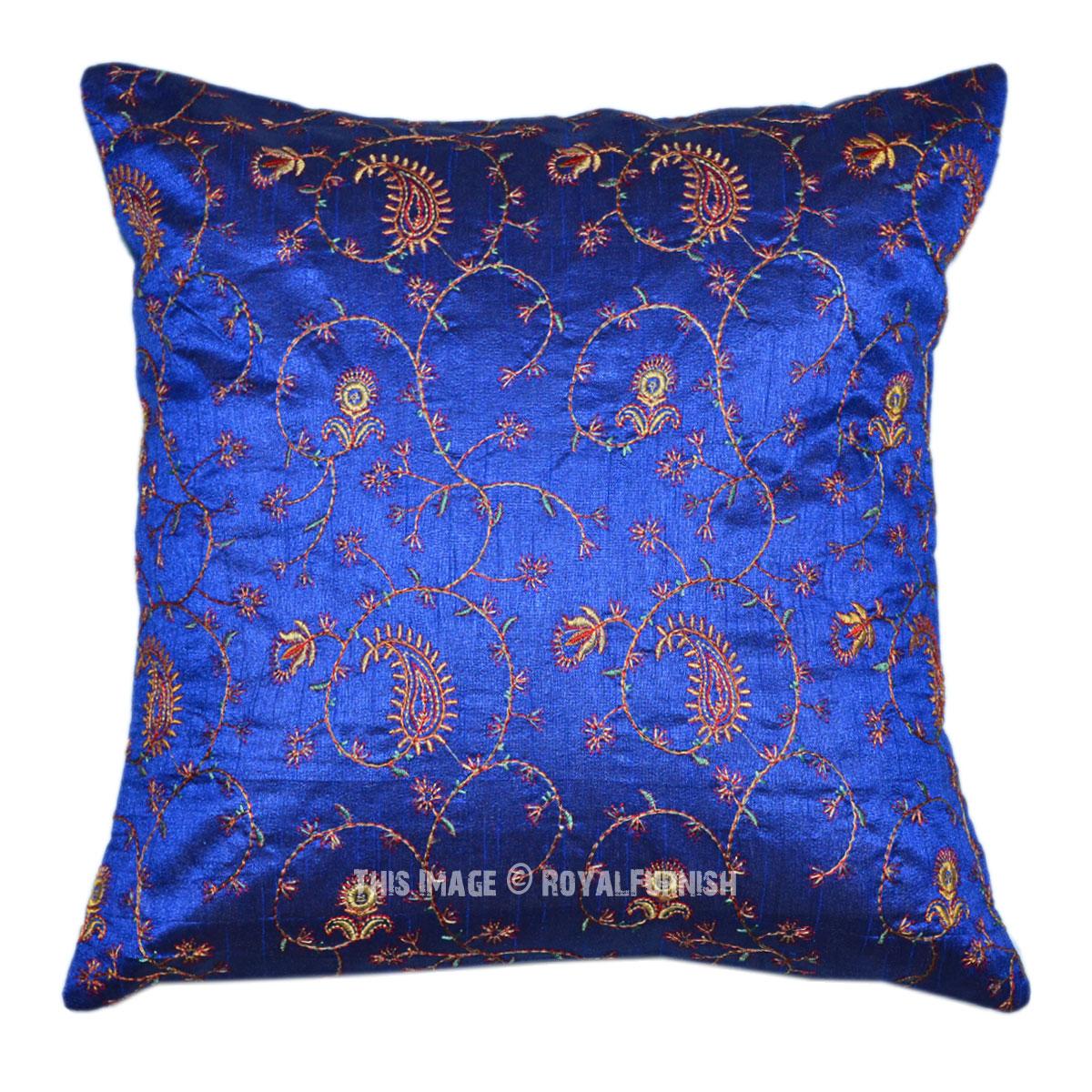 Blue Indian Handicraft Silk Floral Embroidery Toss Pillow