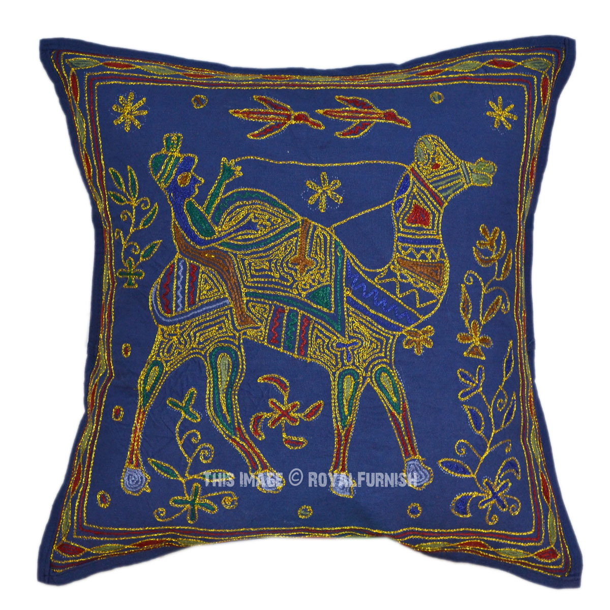 Blue camel hand embroidery decorative toss pillow - Decorative throw pillows ...